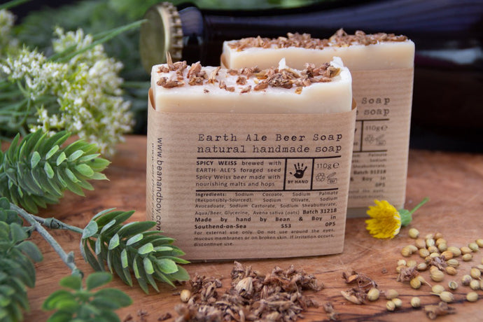 BEAN & BOY Earth and Ale Soap - Certified 100% Natural Pure Vegan Handmade Soap (Cold Process)