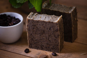 BEAN & BOY Peppermint & Coffee Exfoliating Soap - Gardener's Soap - Certified 100% Natural Pure Vegan Handmade Soap (Cold Process)