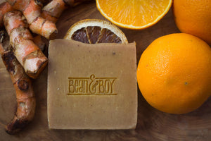 BEAN & BOY Turmeric & Orange Soap - Certified 100% Natural Pure Vegan Handmade Soap (Cold Process)