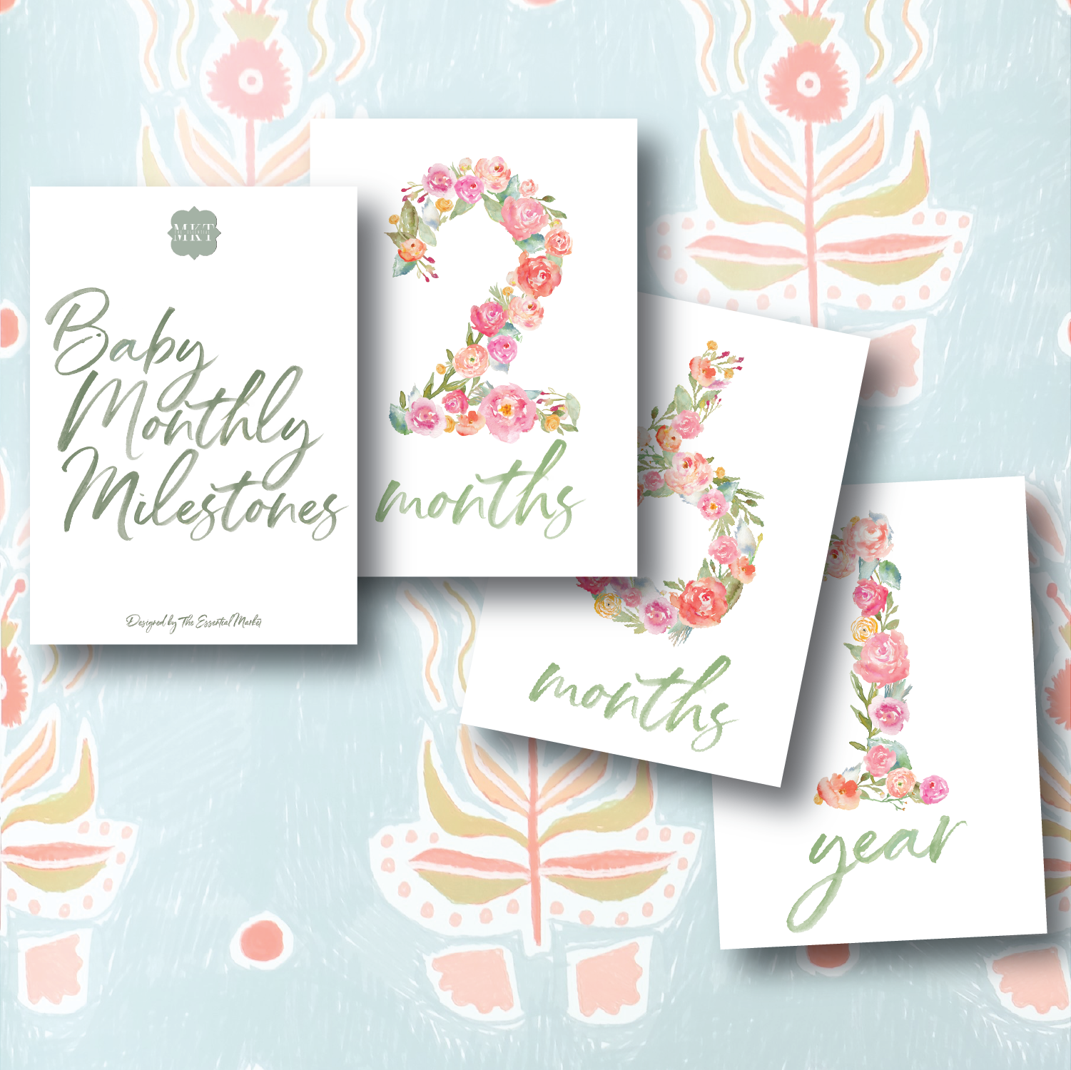 baby milestone cards | flower numbers