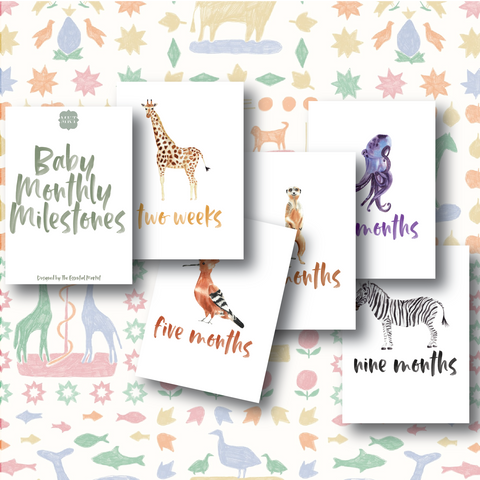 baby milestone cards | animals