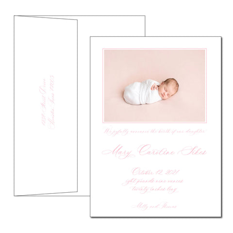 letterpress birth announcement | mary caroline (holiday)
