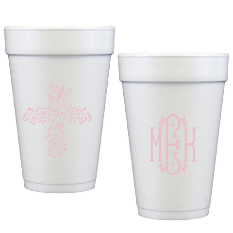 styrofoam cups | birds cross / baby girl