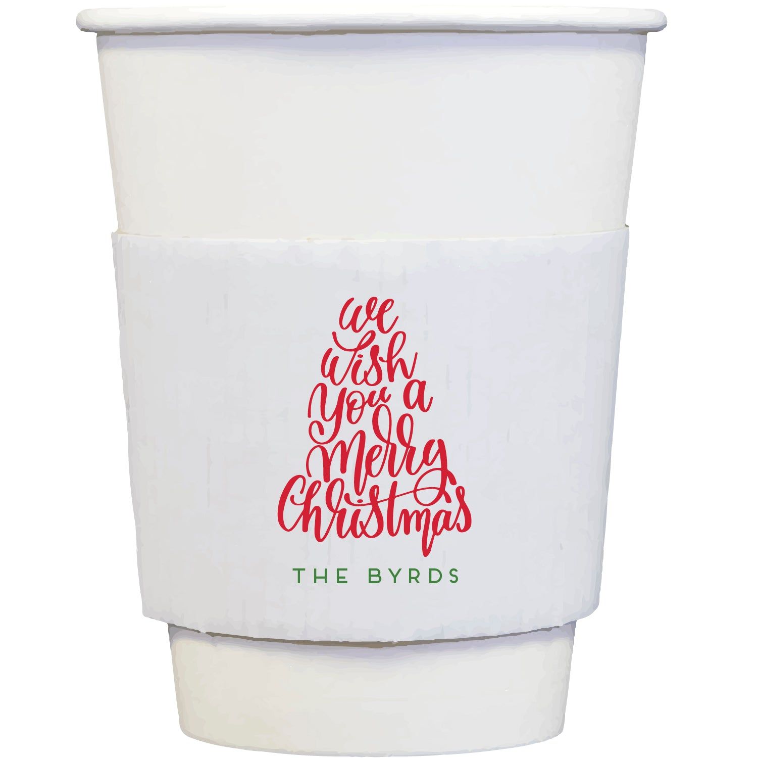 coffee cups + sleeves | merry christmas tree