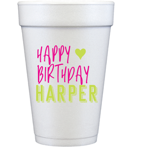 styrofoam cups | happy birthday heart