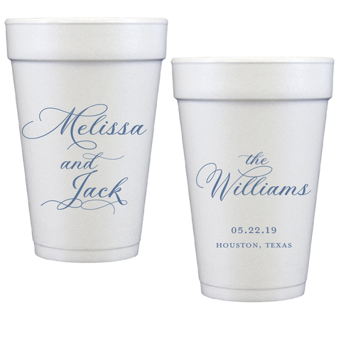 styrofoam cups | wedding flourish script