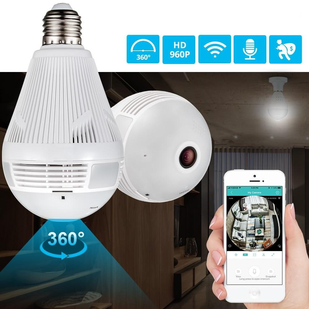 SafeGuard Wireless LED Light Bulb Camera 360 Degrees Remote Viewing - Shoplexcity