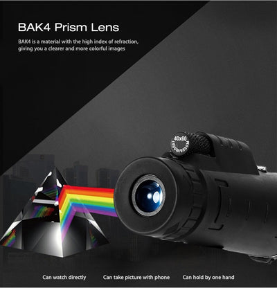 40X60 Monocular Telescope HD Night Vision Prism Scope With Compass Phone Clip Tripod - Shoplexcity