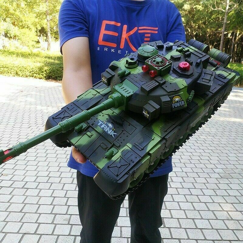 Remote Control Battle Tank with LED Lighting Adjustable Barrel and Turret 2.4G - Shoplexcity