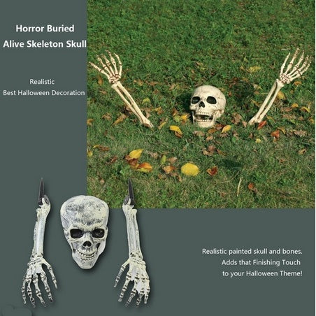 3 Piece Halloween Horror Buried Alive Skeleton Skull Home Garden ...