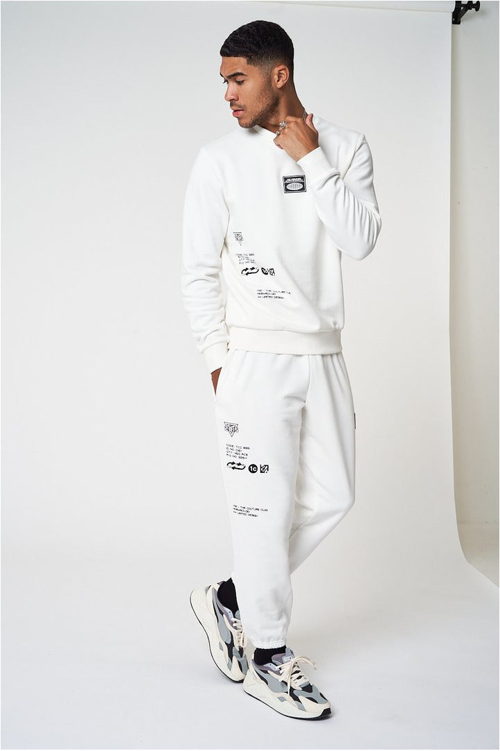 The Couture Club Premium Multi Badged Joggers White