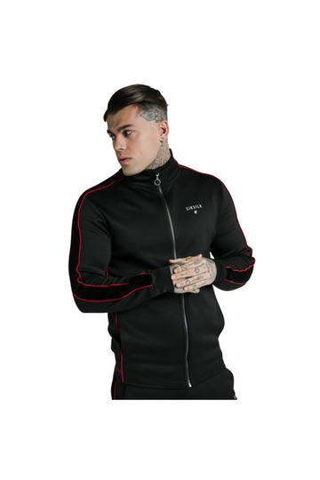 SikSilk Imperial Zip Through Funnel Neck – Black & Red