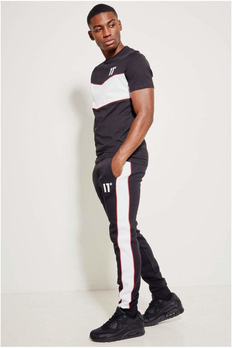 11 Degrees Colour Block Piped Joggers Regular Fit - Black / White / Goji Berry Red