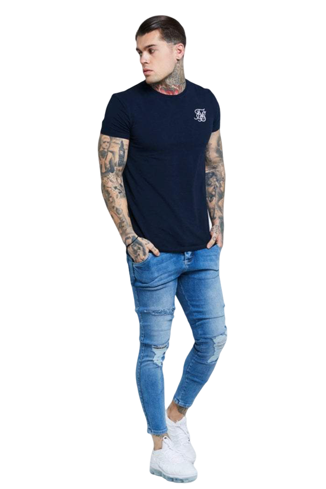 Sik Silk Mid Wash Distressed Denim Jeans