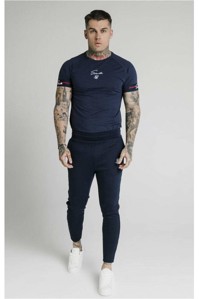 SikSilk Raglan Tech Tee Exposed Tape - Navy