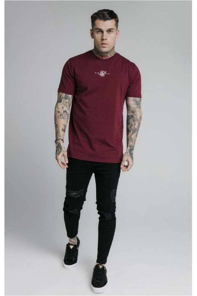SikSilk S/S Basic Core Tee – Burgundy