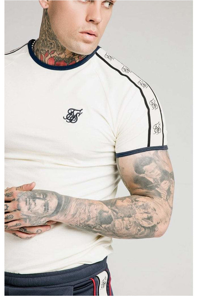SikSilk S/S Premium Ringer Gym Tee  Off White