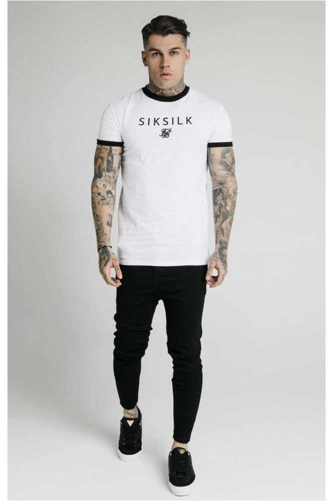 SikSilk S/S Straight Hem Gym Tee - White