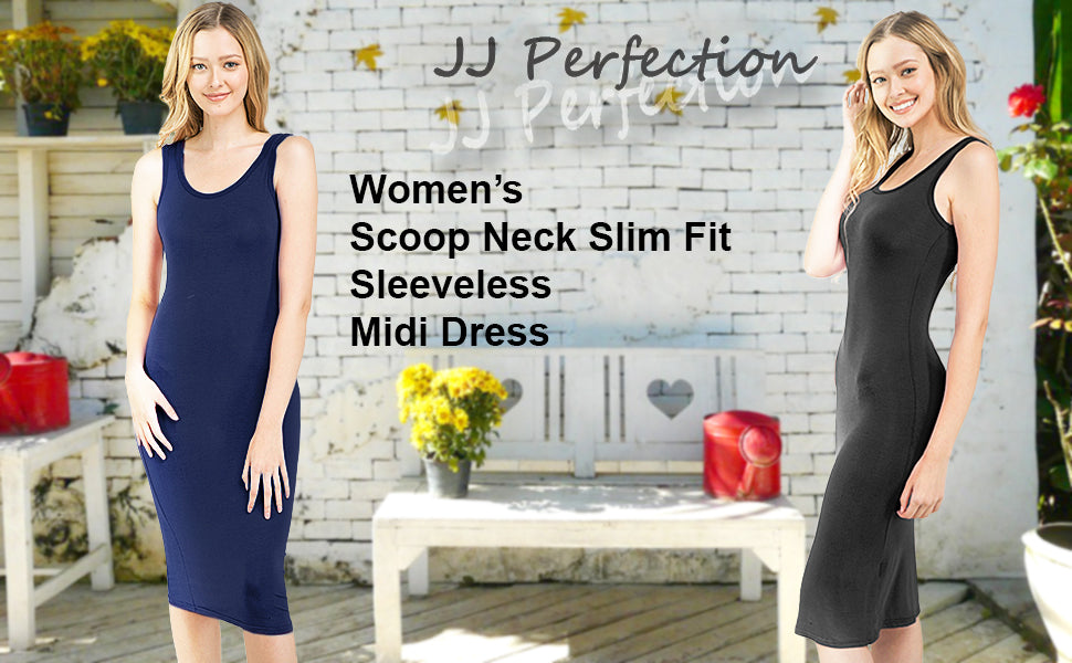 JJ Perfection Womens Scoop Neck Slim Fit Sleeveless Stretchy Tank Midi Dress