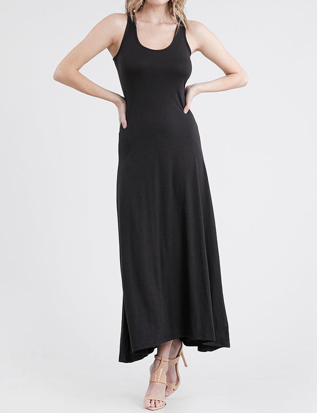 BLACK | AWDMD0190 Scooped Neckline Tanktop Style Comfortable Maxi Dress