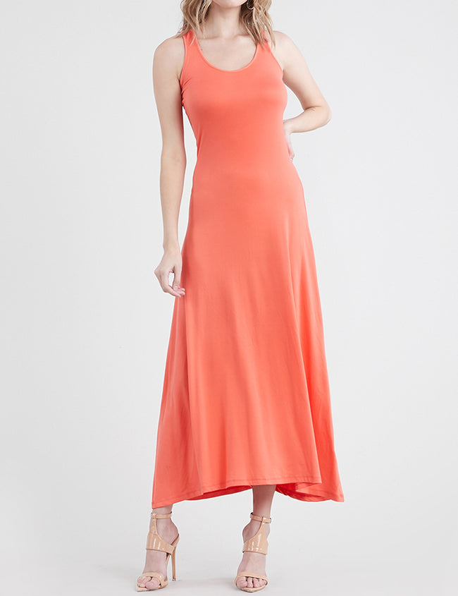 CORAL | AWDMD0190 Scooped Neckline Tanktop Style Comfortable Maxi Dress
