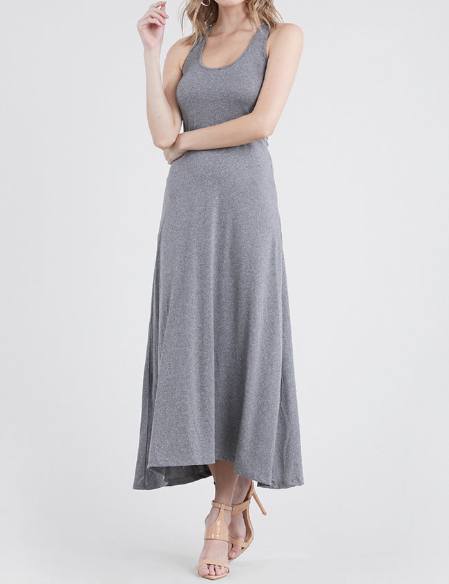 HCHARCOAL | AWDMD0190 Scooped Neckline Tanktop Style Comfortable Maxi Dress