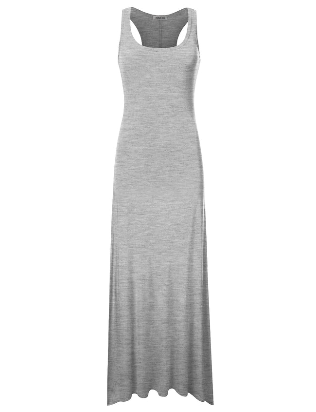 HGREY | AWDMD0190 Scooped Neckline Tanktop Style Comfortable Maxi Dress