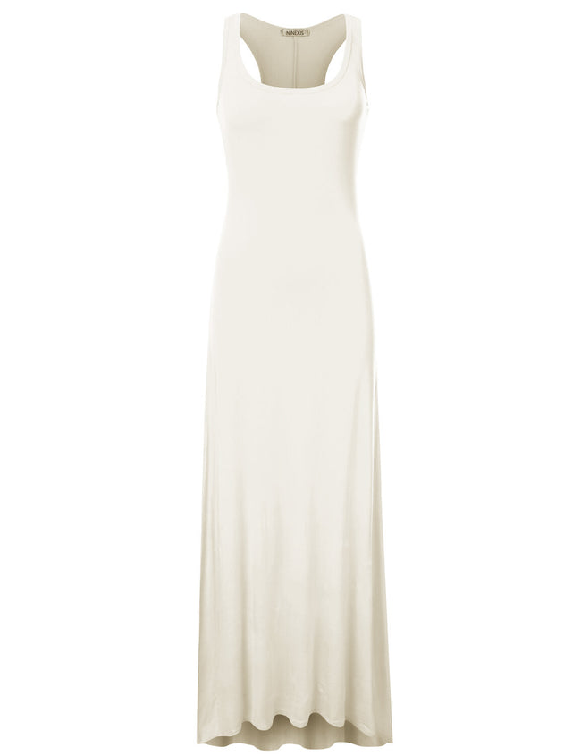 IVORY | AWDMD0190 Scooped Neckline Tanktop Style Comfortable Maxi Dress