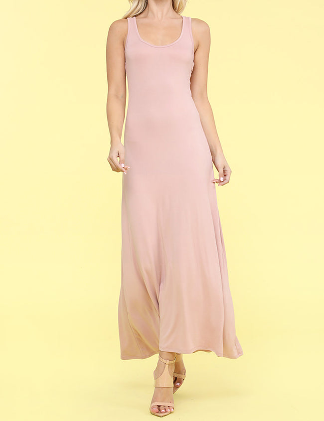 LTMAUVE | AWDMD0190 Scooped Neckline Tanktop Style Comfortable Maxi Dress