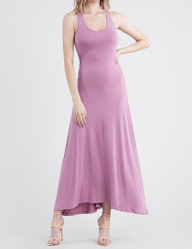 MAUVE | AWDMD0190 Scooped Neckline Tanktop Style Comfortable Maxi Dress