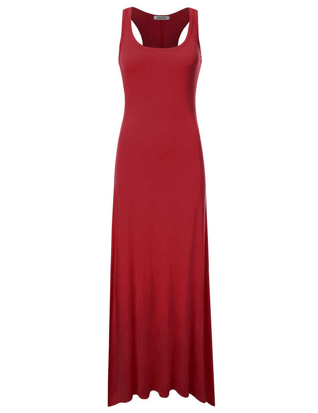 RED | AWDMD0190 Scooped Neckline Tanktop Style Comfortable Maxi Dress