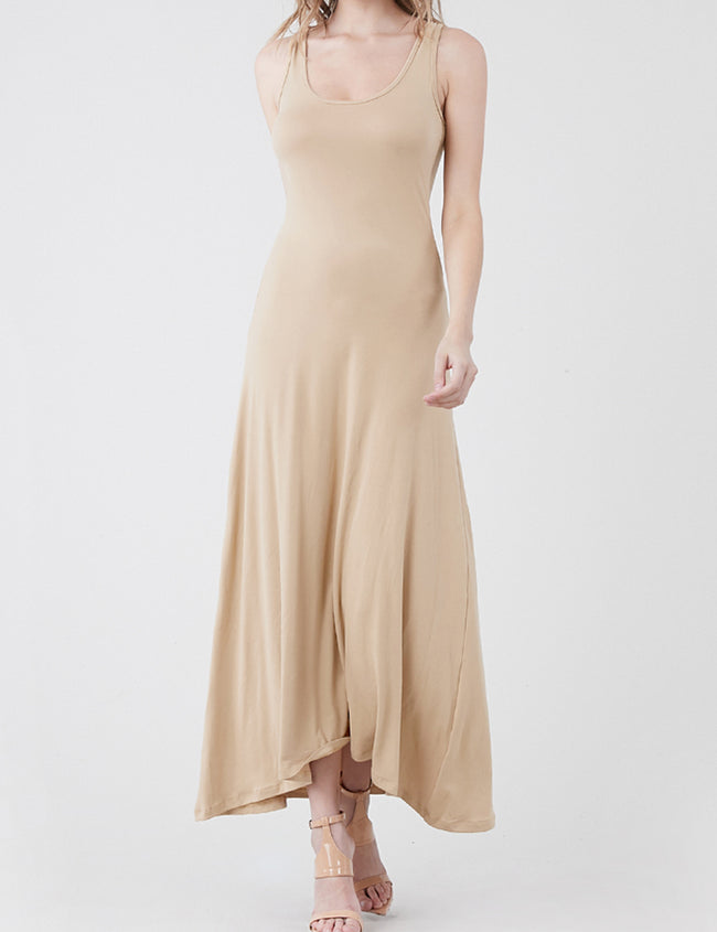 TAUPE | AWDMD0190 Scooped Neckline Tanktop Style Comfortable Maxi Dress