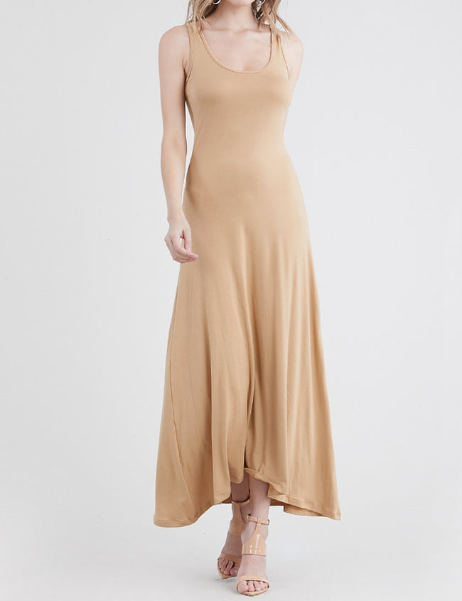 TAUPE2 | AWDMD0190 Scooped Neckline Tanktop Style Comfortable Maxi Dress