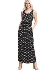 BLACKIVORYDOT | AWDMD237 Scooped Neckline Drop Waist Dress