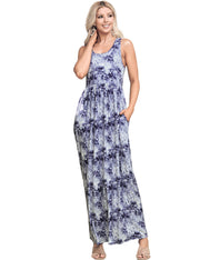 Empire Seam Sleeveless Maxi Dress with Pockets