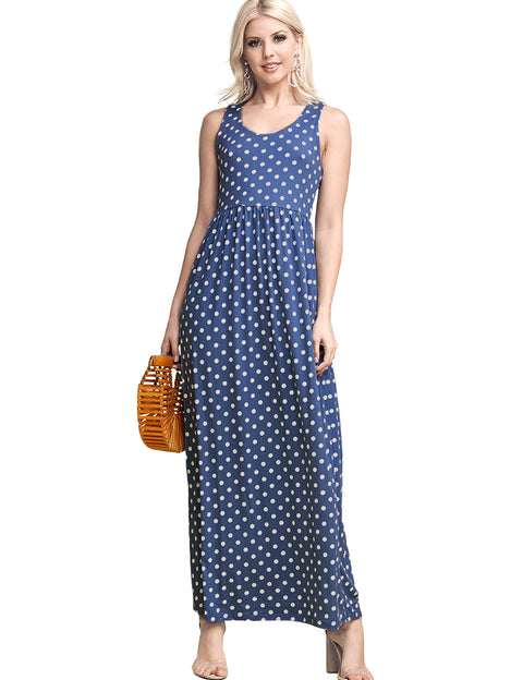 Womens sleeveless scooped neckline drop waist dress with 2 side hand pockets