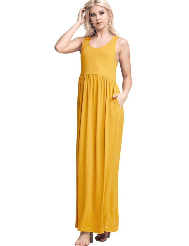 Scooped Neckline Drop Waist Dress