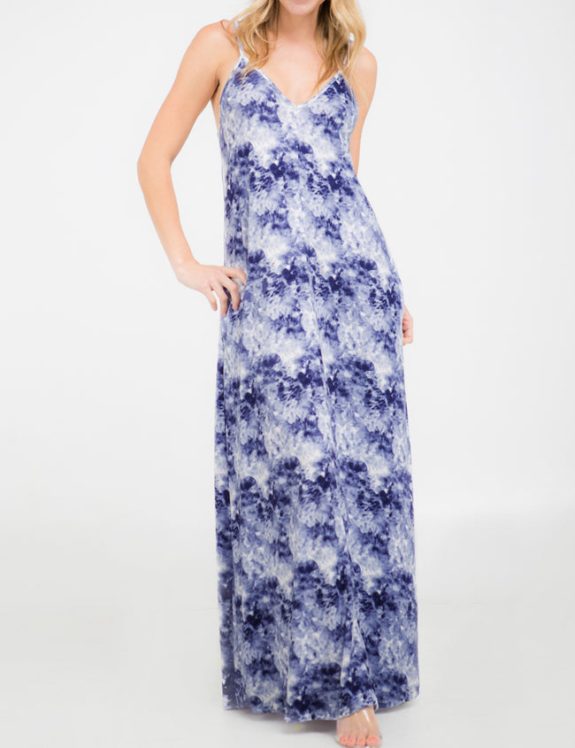 DENIMBLUEIVORYCLOUD | AWDMD238 Camisole Neckline Maxi Dress