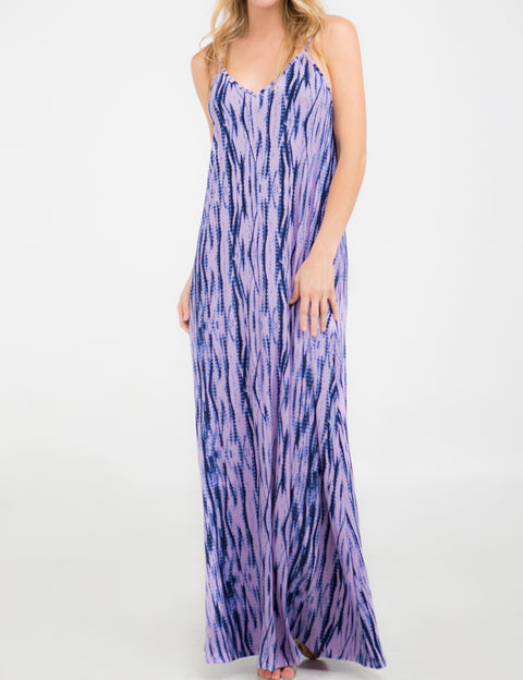 Womens sleeveless camisole neckline maxi dress with spaghetti strap and 2 side hand pockets.