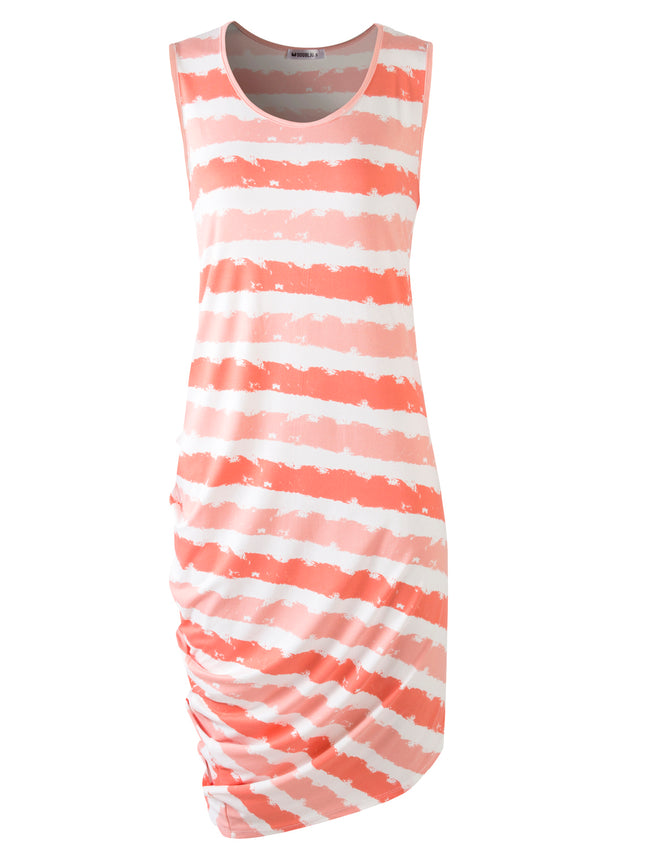 CORALTIEDYE | AWDSD786 Scooped Neckline One Side Draped Cool Short Dress
