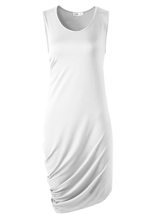 Scooped Neckline One Side Draped Cool Short Dress