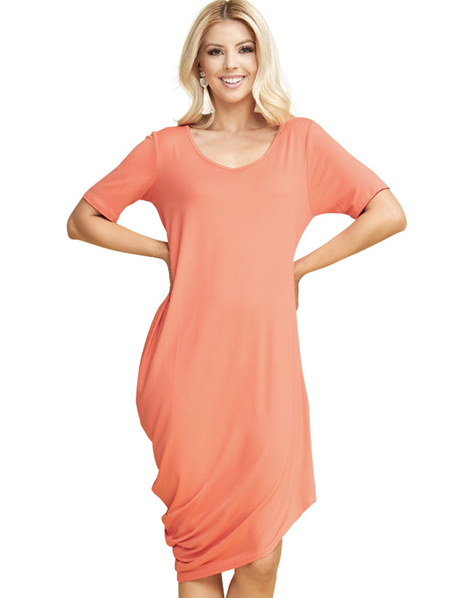 Womens short sleeve scooped neckline one side draped short dress