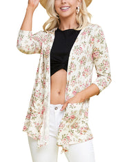 3/4 SLEEVE DRAPPED CARDIGAN WITH POCKET