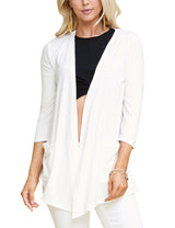 Womens 3/4 sleeve draped open front cardigan with 2 side hand pockets
