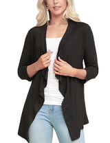 BLACK | AWOCAL290 3/4 Sleeve Draped Open Front Cardigan
