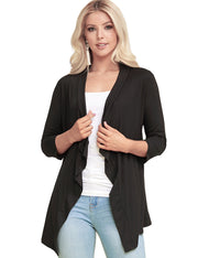 BLACKIVORYSTRIPE | AWOCAL290 3/4 Sleeve Draped Open Front Cardigan