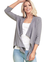 HGREY | AWOCAL290 3/4 Sleeve Draped Open Front Cardigan
