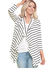 Womens 3/4 sleeve draped open front cardigan