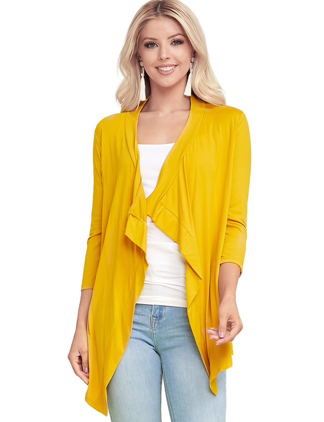 MUSTARD | AWOCAL290 3/4 Sleeve Draped Open Front Cardigan