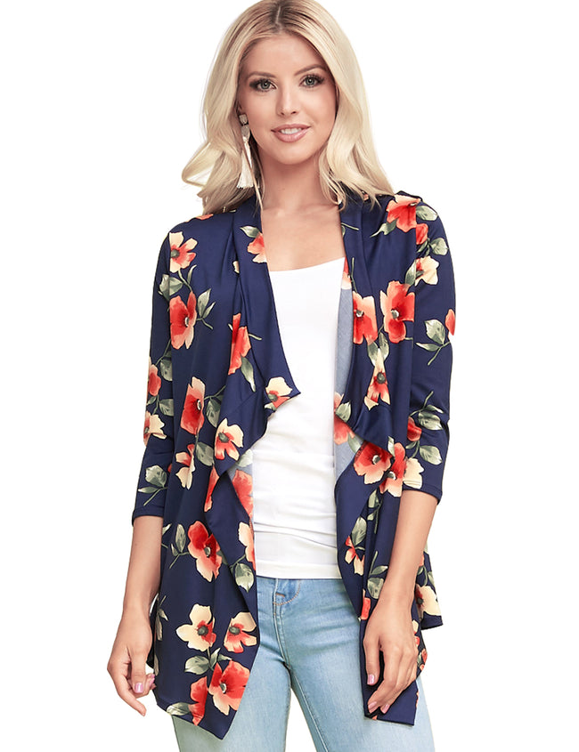 NAVYFLORAL | AWOCAL290 3/4 Sleeve Draped Open Front Cardigan